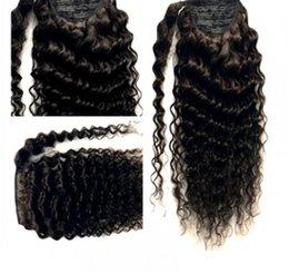 Beautiful Black Wave Hair Australia - Top quality Deep wave curly ponytail hairpiece fashion beautiful chic wraps drawstring pony tail human hair 2019 hot 120g