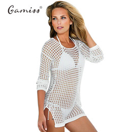Wholesale Sexy Long Tees Australia - Summer Sexy Beach cover ups Hollow Out Tee Shirt Femme Long Cover-up Women Mesh Knitted Crochet Beach Cover up T-Shirt smock