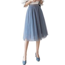 47c120f9ae Faldas de las mujeres 2019 Verano Nueva Moda Negro Beige Blanco Rosa Gris  Malla Midi Tulle Llanura Plisada Falda de cintura alta mujer