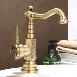 antique brass kitchen taps Australia - Newly Wholesale And Retail Deck Mounted Basin faucet Vintage Antique Brass Bathroom Sink Basin Faucet Mixer Tap Kitchen