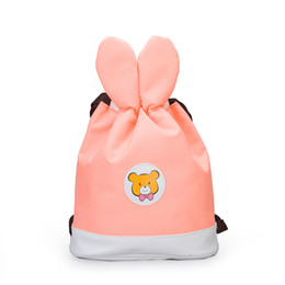 Backpack Toys Girls Australia - Canvas Storage Kids Drawstring Backpack Cartoon Rabbit Ears Bags Children Room Toy Clothes Hanging Bag For Girls