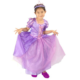 Wholesale girl's dressing gown online – Girls Snow White Cinderella Purple Princess Dress Skirts Crown Headband sets Halloween Show Party Costume Girl s Dresses Outfits M191