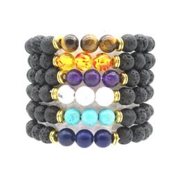 $enCountryForm.capitalKeyWord NZ - Turquoise tiger eye stone 8mm Black Lava Rock Beads Bracelets Essential Oil Diffuser Charm Bracelet Jewelry