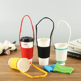 Water Bottle Straps Holders Australia - Canvas Coffee Drink Mug Sleeve Water Bottle Insulated Cover Bag Holder Strap Pouch Carrier Warm Heat Insulation Water Cup Bags