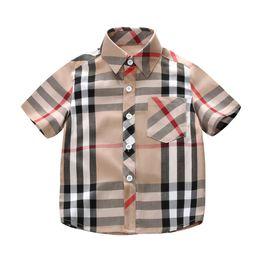 Summer Plaid Shirts Child Kid Boys Girls short Sleeve Buttons Pocket Tops Shirt Turn Down Collar Blouse Casual children shirts on Sale
