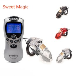 Chastity Device Sales Australia - Sweet Magic Hot Sale Electric Shock Male Chastity Belt Device Electro Cock Cage Device Lockdown,Penis Ring Adult Sex Toys For Men