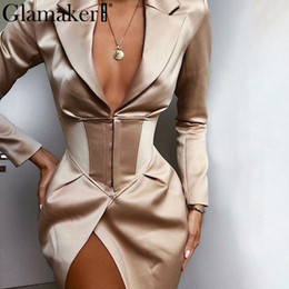 Wholesale women blazers for sale - Group buy Womens Blazer V Neck Khaki Sexy Blazer Dress Women Autumn Winter Bodycon Elegant Thin Coat Outwear Female Party Club Night Blazer