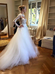 $enCountryForm.capitalKeyWord Australia - Detachable Train Wedding Dresses Mermaid Jewel Neck Long Sleeve Hollow Back Country Wedding Gown Gold Bow Tie Tulle Bridal Dress