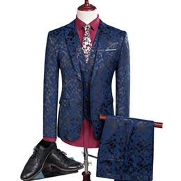 Dark Blue Coat Pant UK - New men leisure single-breasted suits 3 pieces sets   Man's pure color business suit jacket blazers coat + vest +pants C18122501