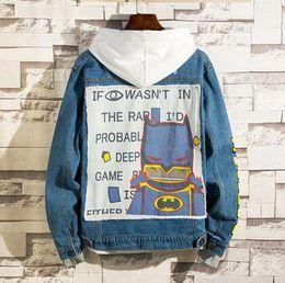 $enCountryForm.capitalKeyWord Australia - Fashion Brand Men's Jackets Batman Graffiti print Hip Hop Rock Vintage Hole Loose Denim jacket Coats
