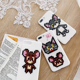 $enCountryForm.capitalKeyWord Australia - For iphone xs xr phone case Childhood Tom Cat Jerry Mouse Cartoon Building Blocks phone case Support 2PCS delivery
