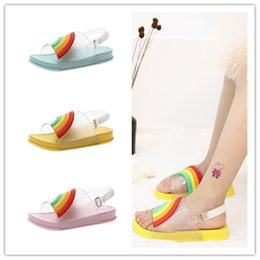 Kids Shoes Sandals Slippers Australia - Summer Kids Rainbow Candy Color Sandals Girls Leakage Toe Sandals With Buckle Strap Soft PU Sole Beach Slippers Bath Water Shoes New A51302