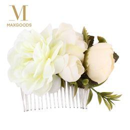 Girls Pearl Hair Comb Australia - 1 Pcs Rose Flower Hair Combs Wedding Crown Headwear Blooming Flower Headband for bride girls flower hair clip Wedding Jewelry D19011103
