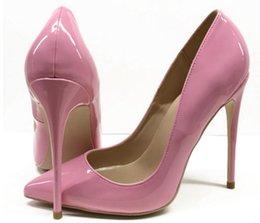 $enCountryForm.capitalKeyWord Australia - 2019 Pink Fine heel Cusp Heel height:10cm 8cm 12cm Large size 34-44 women's red bottom high-heeled shoes Patent leather wedding Single shoes