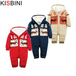 0c6720e7378e good quality Baby Rompers Winter Thick Climbing Clothes Newborn Boys Girls  Warm Romper Knitted Sweater Christmas Deer Hooded Outwear