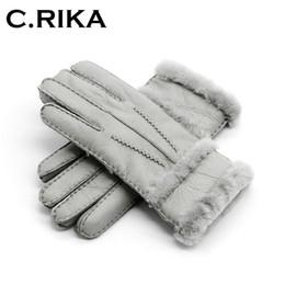 Leather Mitten Gloves Australia - 100% pure sheepskin Winter Gloves Women Real Sheepskin cashmere Fur Warm Gloves Ladies Full Finger Genuine Leather mitten gloves D19011005