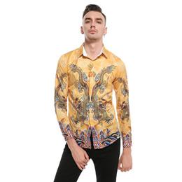 Chinese Collar Shirts Mens UK - Mens Cotton Shirts Traditional Chinese Casual Long Sleeve Shirt Golden Dragon European Size Slim Mens Clothing