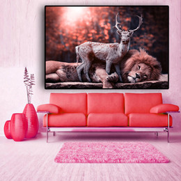 forest figures Australia - 1 Pcs Forest Deer and Lion Animal Landscape Canvas Painting Cuadros Posters and Prints Scandinavian Wall Art Picture No Frame