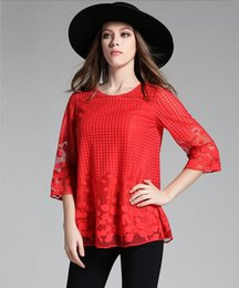 plus size lace ruffled blouses NZ - M-5XL 2019 summer new women Lace shirt Embroidery Blouses plus size add fertilizer Women Shirt ruffle shirt Black Red 880A