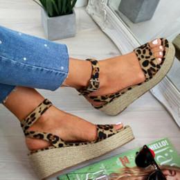 Denim peep toe online shopping - WENYUJH Sommer plataforma sandalias de las mujeres de la moda gladiador sandalias cuñas Zapatos de leopardo Casual mujer Peep Toe sanda