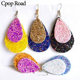 Glitter drops online shopping - Cpop Glitter Double Layers Water Drop Leather Earrings Hot Sale Gift Fashion Statement Dangle Earring Jewelry Women Accessories