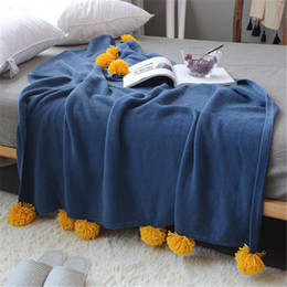 Flag towels online shopping - 130x160cm Nordic Cotton Color Ball Soft Child Air Conditioning Blanket Ins Style Spring Summer Fall Wild Bed Flag Towel