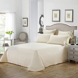 Beige Solid Simple Quilting Bedsheet Print Cotton Stitching Bedlinens Coverlet 3pcs Bedspread Set Pillowcases on Sale
