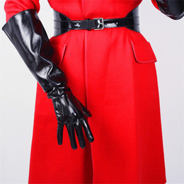 long black leather gloves NZ - Long Leather Gloves Wide Cuff Lantern Sleeve Simulation Leather Three Bars White Black 50cm Woman Patent Leather PU Gloves
