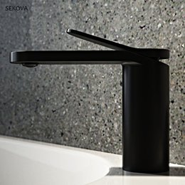Painting Faucets White Australia - Brass Chrome Plated Black White Paint Cold And Hot Basin Faucet Single Hole Deck Mounted Washbasin Mixer Water Tap