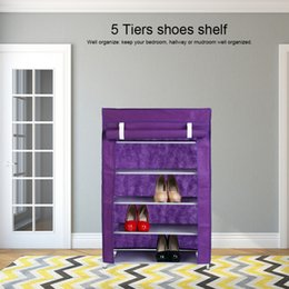 $enCountryForm.capitalKeyWord Australia - 5 Tiers Shoe Rack with Non-Woven Fabric Dustproof Cover Closet Shoe Storage Cabinet Organizer for Home Dormitory Shoes
