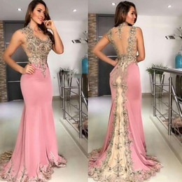 Wholesale collared dress plus size resale online – 2020 Sexy Cheap Pink Mermaid Evening Dresses Wear V Neck Lace Appliques Crystal Beaded Sleeveless Sheer Back Formal Prom Dress Party Gowns