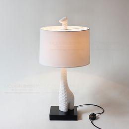 Bedside Reading Table Australia - Modern Giraffe Table Lamp Europe White Resin Desk Lamps Bedroom Decorate AC 110v -220V LED Study Read Bedside Art Lamp