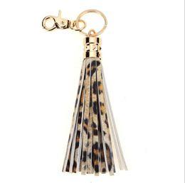 $enCountryForm.capitalKeyWord Australia - Leopard rainbow cactus design tassel Keychain PU leather leopard print tassel key chain free delivery