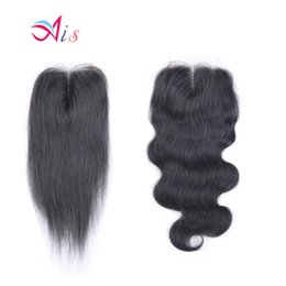 Black straight hair middle parting online shopping - Ais Hair Lace Closure X4 Straight Body Wave Natural B Color Brazilian Virgin Human Hair Weaves Extensions Indian Peruvian Malaysian Hair