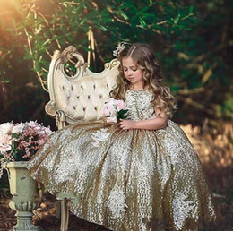 evening gowns for little girls 2019 - 2019 Luxury Gold Sequined Flower Girls Dresses For Wedding Formal Prom Evening Party Little Girls Kids Ball Gowns Lace A