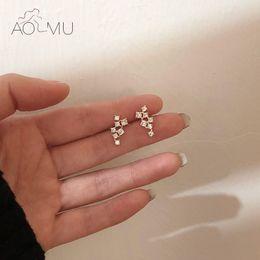 Crystal Stud Metal Australia - AOMU Korea Simple Shiny Crystal Star Irregular Gold Metal Imitated-pearl Rhinestone Zircon Stud Earrings for Women Party Jewelry