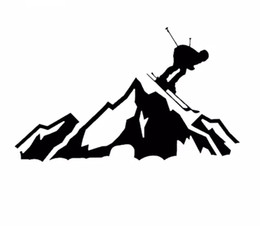 China 20*12CM Skier Racing Down the Mountain Car Decals Ski Slopes Vinyl Cut Decal Art Car Window Decor Car Stickers CA-1050 suppliers
