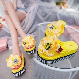 Wholesale Unique2019 Flower Sweet Butterfly Thick Bottom Cake Woman Slope With People Cool Word Slipper