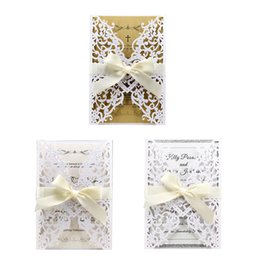China Elegance Wedding Invitation Card 10 Pcs Pearl Paper Cardboard Openwork Lace Design Wedding Business Party Invitation Cards cheap lace invitation card designs suppliers