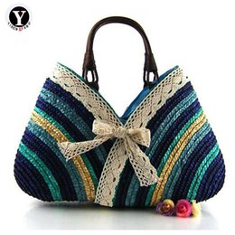 rainbow crosses UK - Yirenfang Women Bag Summer Casual Fashion Bow Rainbow Stripe Straw Weaving Beach Bags Handbags Women Famous Brands Shoulder Bags J190702