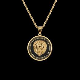 Necklaces Pendants Australia - Popular Trandy HIPHOP Rapper Rocker 316L Stainless Steel Jewelry Round Tags Lion Hand Pendant Necklace Mens Hip-Hop Accessories Gold