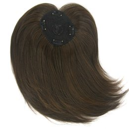 China Brown Synthetic Toupees Straight Fringe Top Closures for Men Women Long Hairpieces human Hair Bang clip in bangs cheap hairpiece human hair suppliers