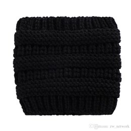Fashion Winter Headbands Beanies Australia - Fashion Women Ponytail hats female winter warm woolen hat kintting earcovers headband knitted crochet beanies skull caps outdoor hedging cap