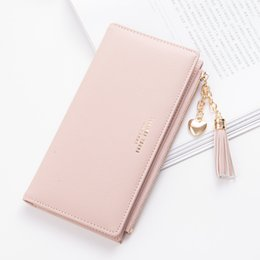 Pink cute wallet online shopping - Tassel Wallet Women Long Cute Wallet Leather Tassel Wallets Wallets Zipper Poblic Female Purse Clutch Cartera Mujer