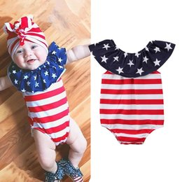 toddlers christmas onesies 2019 - INS Independence Day Designer Toddler Baby Girls Rompers Red Blue Ruffles Lace Sleeveless Newborn Bodysuits Summer Baby