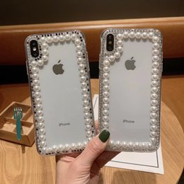 diamond x NZ - Free DHL EGEEDIGI Luxury sparkling diamond pearl Phone Case Soft TPU Transparent Cover For iPhone X Xr Xs Max 8 7 6S Plus Nice packaging