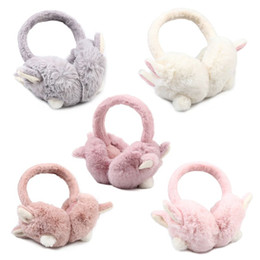 pink earmuffs UK - Women Girls Winter Thicken Plush Earmuffs Cute Rabbit Ears Bunny Tail Solid Color Earflap Foldable Portable Ear Cover Warmer Hea