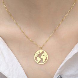 $enCountryForm.capitalKeyWord Australia - Europe and America Simple World Map Necklace HIP HOP Women's Stainless Steel Map Necklace MATO PARIS Necklace