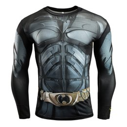 Gym Polyester T Shirt Long Sleeves NZ - 2019 gym Hot Sale Batman Punisher Rashgard Running Shirt Men T-shirt Long Sleeve Compression Shirts Gym T Shirt Fitness Sport Shirt