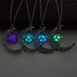 Necklaces Pendants Australia - 2017 Glowing In The Dark Pendant Necklaces Silver Plated Chain Necklaces Hollow Moon & Heart Choker Necklace Collares Jewelry